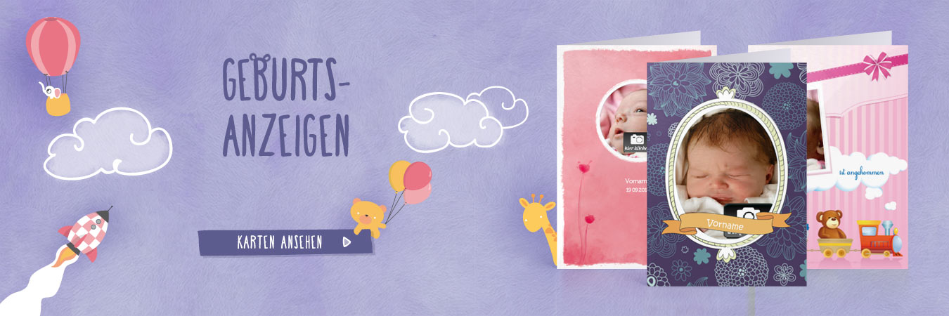 Kündigen Sie die Geburt Ihres Babys mit einer hübschen Karte an!