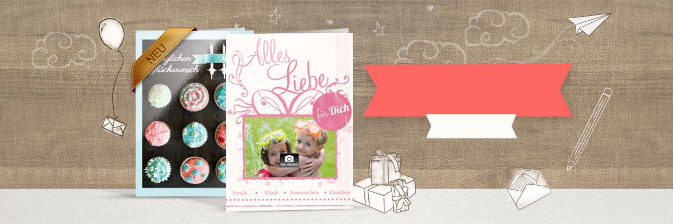 gedruckte Geburtstagskarten