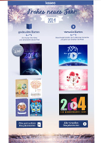 gedruckte und virtuelle Neujahrskarten